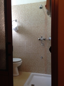Yes, the shower toilet and sink are all one!