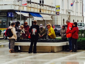 Even in the rain the groups of camera wearing tourists won't stay away!