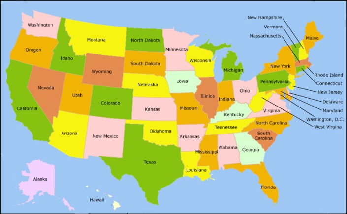 Etats Unis d'Amerique. I'm from that orange state right over there.